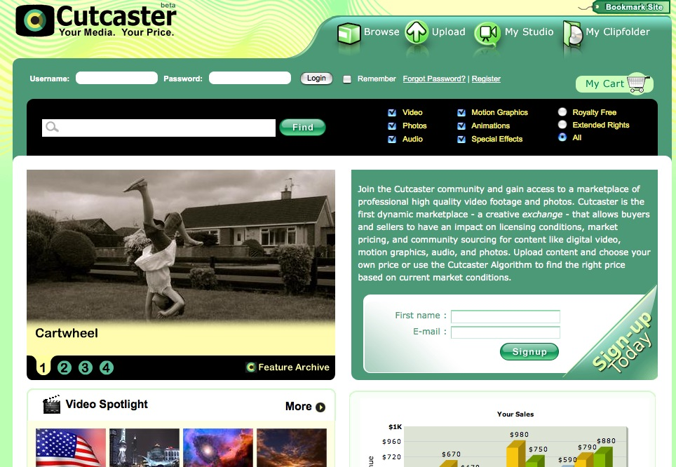 cutcaster home page