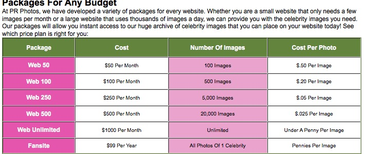 web pricing